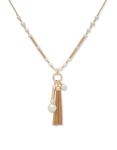 Anne Klein Pearlfect Faux Pearl and Crystal Pendant Necklace-WHITE-One Size