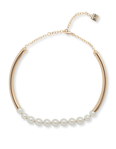 Anne Klein Pearlfect Faux Pearl and Crystal Choker Necklace-WHITE-One Size