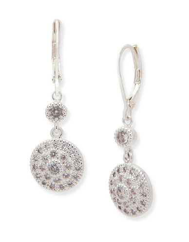 Anne Klein Crystal Drop Earrings-SILVER-One Size
