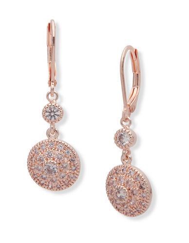 Anne Klein Crystal Drop Earrings-PINK-One Size