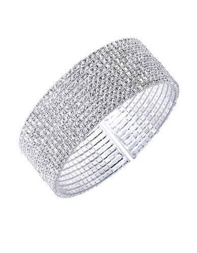 Anne Klein Crystal Bangle Bracelet-SILVER-One Size