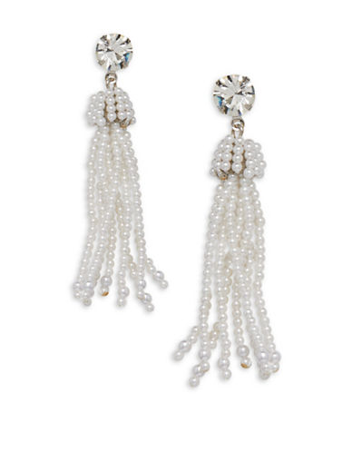 Cezanne Tassels Large Round White Bead Earrings-WHITE-One Size