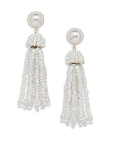 Cezanne Tassels Baroque White Bead Earrings-WHITE-One Size