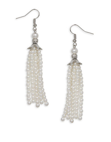 Cezanne Tassels Small Round White Bead Earrings-WHITE-One Size