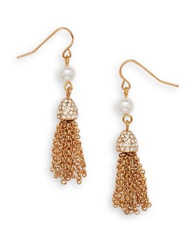 Cezanne Tassel Cluster Drop Earrings-GOLD-One Size