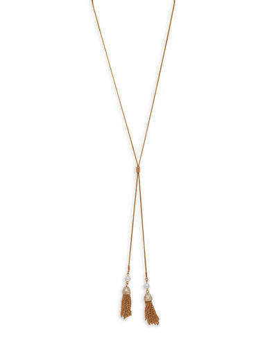 Cezanne Tassel Cluster X-Necklace-GOLD-One Size