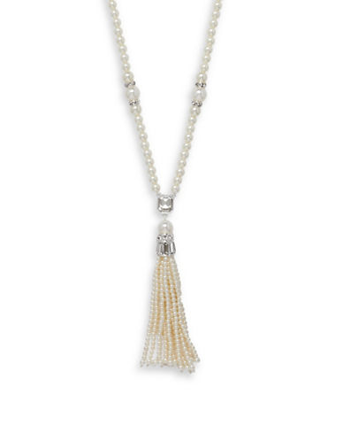 Cezanne Crystal Tassel Necklace-IVORY-One Size