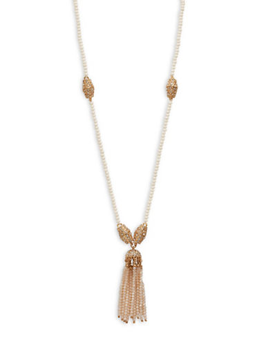 Cezanne Tassel Cluster Drop Necklace-IVORY-One Size