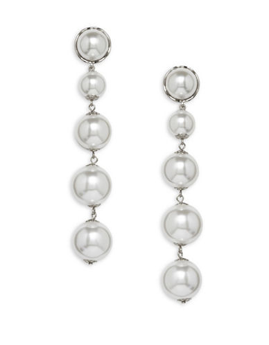 Cezanne Statement Pearls Faux Pearl Drop Earrings-SILVER-One Size