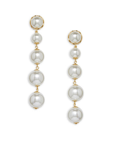 Cezanne Statement Pearls Faux Pearl Drop Earrings-WHITE-One Size