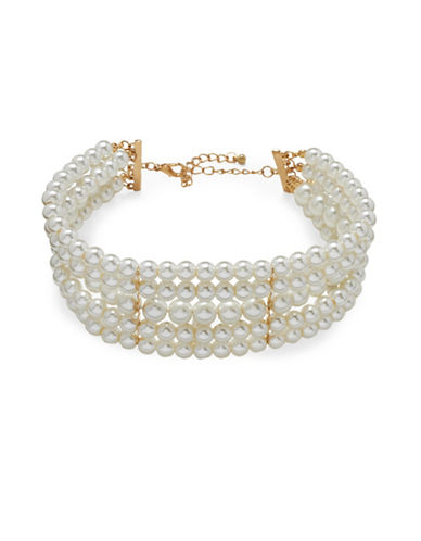 Cezanne Statement Pearls Faux Pearl Choker Necklace-WHITE-One Size