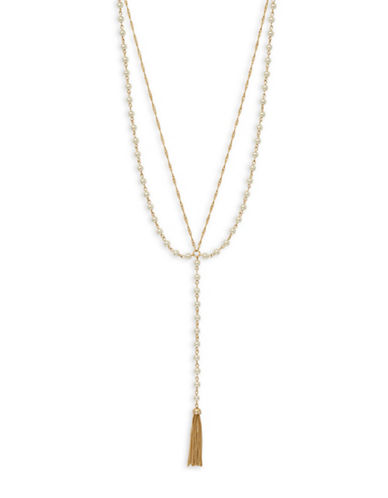 Cezanne Pearl and Crystal Chain Tassel Necklace-IVORY-One Size