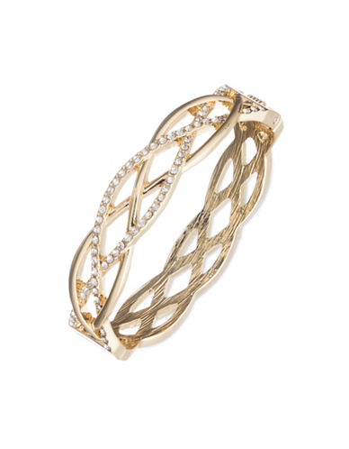 Anne Klein Crystal Weave Bangle-GOLD-One Size