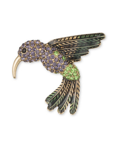 Anne Klein Faceted Hummingbird Brooch-GOLD-One Size