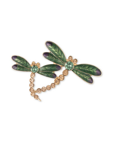 Anne Klein Crystal Dragonfly Family Brooch-GOLD-One Size