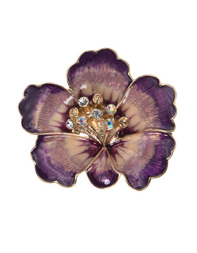 Anne Klein Crystal Flower Brooch-PURPLE-One Size