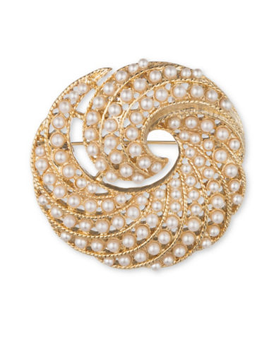 Anne Klein Faux Pearl Swirl Brooch-GOLD-One Size