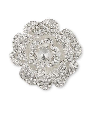 Anne Klein Crystal Open Flower Brooch-SILVER-One Size