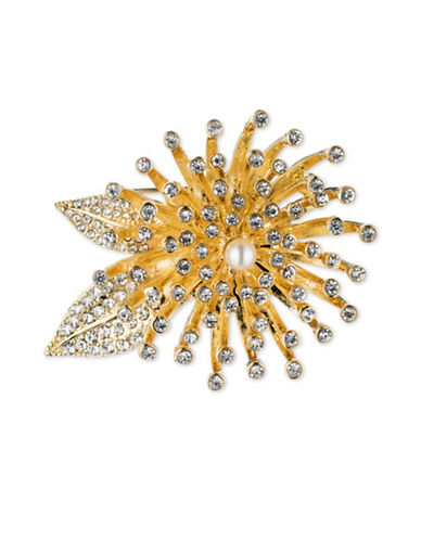 Anne Klein Crystal Floral Pin Brooch-GOLD-One Size
