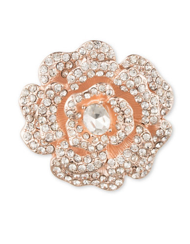 Anne Klein Pave Open Flower Brooch-ROSE GOLD-One Size