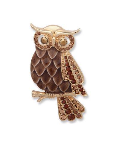 Anne Klein Crystal Owl Brooch-BROWN-One Size