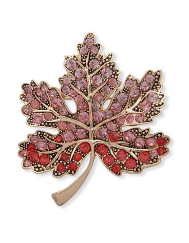 Anne Klein Crystal Maple Leaf Brooch-PINK-One Size