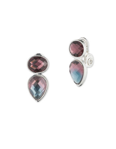Cezanne Fade to Blue Two-Stone Clip-On Earrings-MULTI-One Size