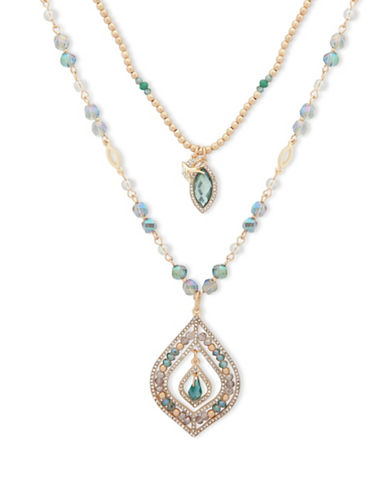 Lonna & Lilly Shimmering Path Beaded Necklace-GREEN-One Size