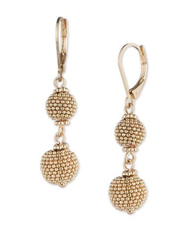 Cezanne Shimmering Lights 12K Gold Double Drop Earrings-GOLD-One Size