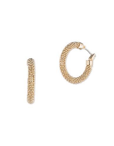 Cezanne Shimmering Lights 12K Gold Hoop Earrings-GOLD-One Size
