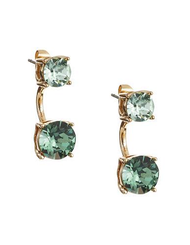 Anne Klein Crystal Threader Jacket Earrings-GREEN-One Size