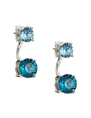 Anne Klein Crystal Threader Jacket Earrings-BLUE-One Size