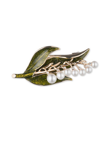 Cezanne 5MM, 6MM, 7MM White Round Freshwater Pearls, Crystal and Olivine Leaf Boxed Pin-MULTI-One Size