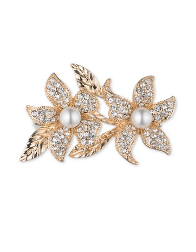 Cezanne 7MM White Round Freshwater Pearls and Crystals Double Leaf Boxed Pin-CRYSTAL-One Size