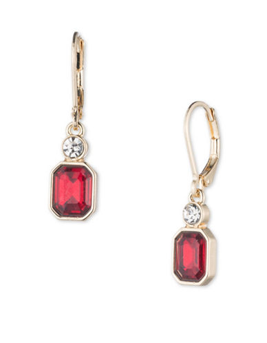 Anne Klein Bright Nights Crystal Drop Earrings-RED-One Size