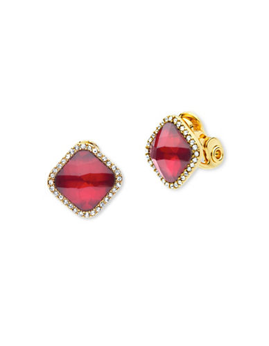 Anne Klein Mix and Mingle Red Crystal Earrings-RED-One Size