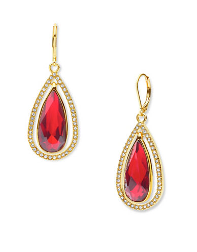 Anne Klein Mix and Mingle Red Crystal Drop Earrings-RED-One Size