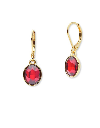 Anne Klein Mix and Mingle Crystal Drop Earrings-RED-One Size
