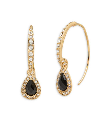 Anne Klein Epoxy Stone 12K Gold-Plated Earrings-BLACK-One Size