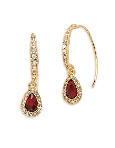Anne Klein Epoxy Stone 12K Gold-Plated Earrings-RED-One Size