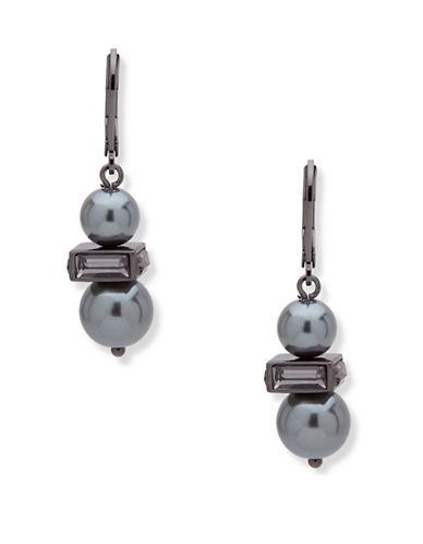 Anne Klein Dark Decadence Faux Pearl Beaded Drop Earrings-GREY-One Size