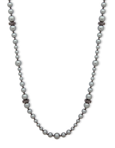 Anne Klein Dark Decadence Faux Pearl Beaded Necklace-GREY-One Size