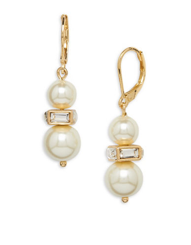 Anne Klein Faux Pearl, Crystal and 12K Gold-Plated Drop Earrings-PEARL-One Size