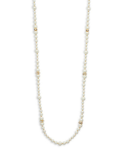 Anne Klein Glass Pearl 12K Gold-Plated 42 Necklace-PEARL-One Size