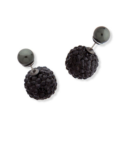 Anne Klein Dark Decadence Crystal Multi-Faceted Beaded Stud Earrings-ASSORTED-One Size
