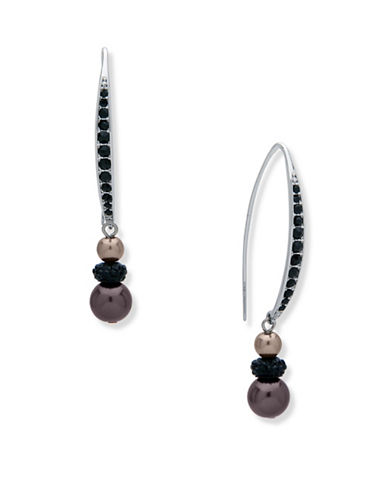 Anne Klein Dark Decadence Crystal Dual Beaded Drop Earrings-ASSORTED-One Size