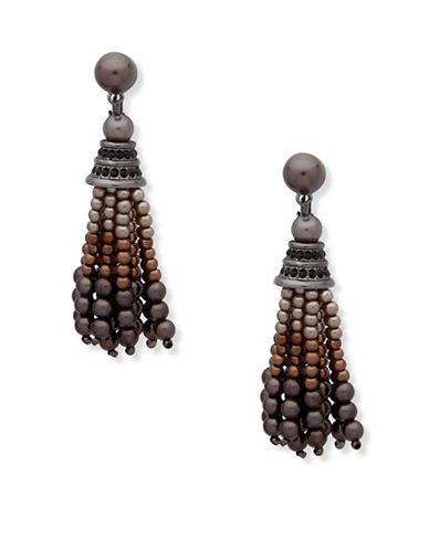 Anne Klein Dark Decadence Crystal Multi-Beaded Drop Earrings-ASSORTED-One Size