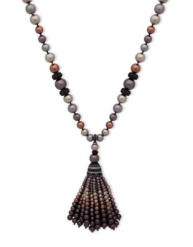Anne Klein Dark Decadence Crystal Pendant Necklace-ASSORTED-One Size