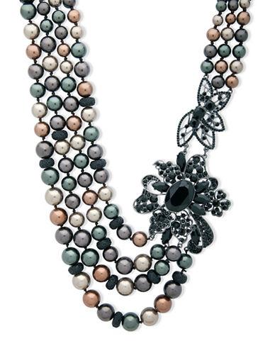 Anne Klein Dark Decadence Crystal Statement Necklace-ASSORTED-One Size