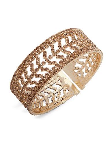 Anne Klein Midnight Toast Chevron Crystal Cuff Bracelet-GOLD-One Size